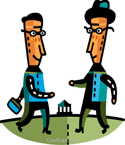 Businessmen greeting each other Royalty Free Vector Clip Art illustration vc094116