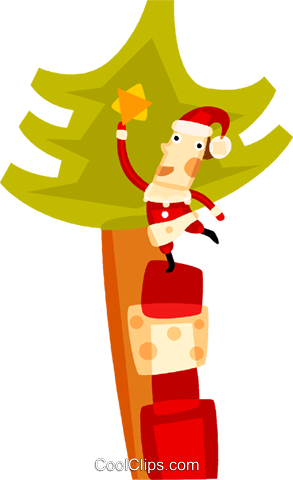 Santa placing a star on the tree Royalty Free Vector Clip Art illustration vc094125