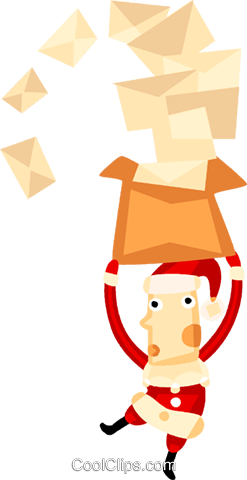Santa and his letters Royalty Free Vector Clip Art illustration vc094126