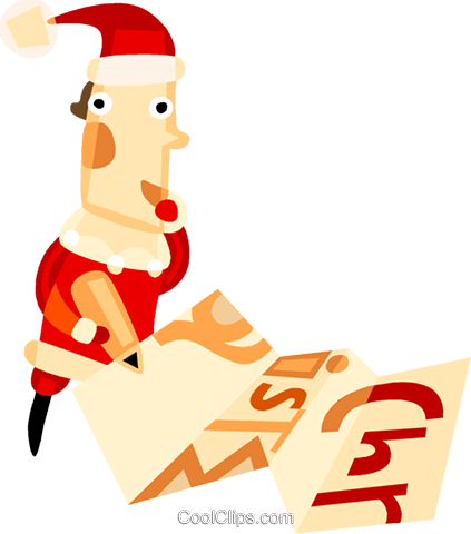 Santa checking over his list Royalty Free Vector Clip Art illustration vc094128