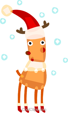 Reindeer wearing Santa's hat with snow Royalty Free Vector Clip Art illustration vc094132