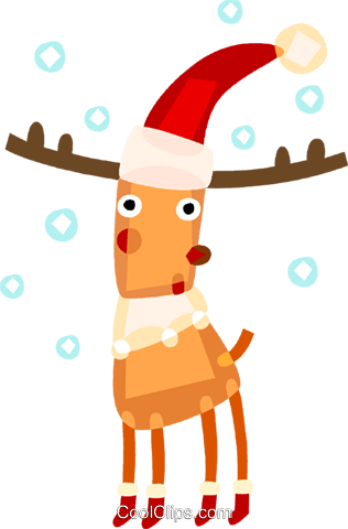 Reindeer wearing Santa's hat Royalty Free Vector Clip Art illustration vc094134