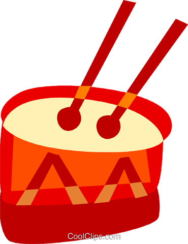 Drum with drum sticks Royalty Free Vector Clip Art illustration vc094135