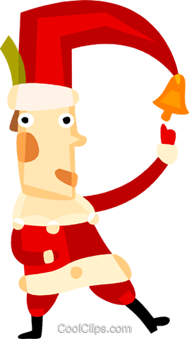 Santa with bell on his hat Royalty Free Vector Clip Art illustration vc094139
