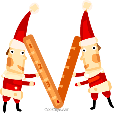 Elves with a ruler Royalty Free Vector Clip Art illustration vc094143