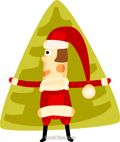 Santa and a Christmas tree Royalty Free Vector Clip Art illustration vc094144