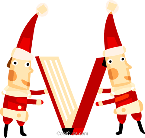 Elves closing a book Royalty Free Vector Clip Art illustration vc094147