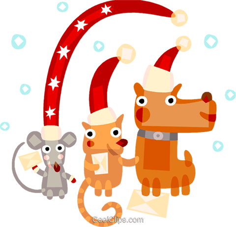 Cat, dog,mouse celebrating Christmas Royalty Free Vector Clip Art illustration vc094148