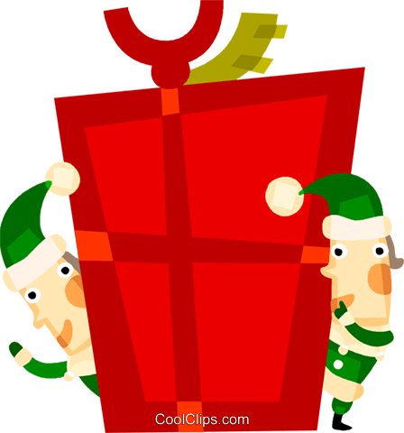 Elves with a Christmas gift Royalty Free Vector Clip Art illustration vc094151