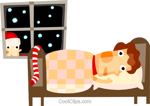 sleeping the night before Christmas Royalty Free Vector Clip Art illustration vc094152