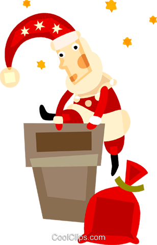 Santa going down a chimney Royalty Free Vector Clip Art illustration vc094156