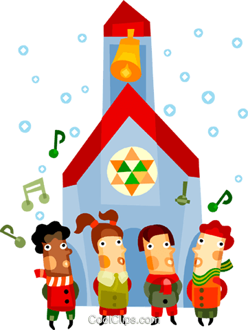 Children singing Christmas carols Royalty Free Vector Clip Art illustration vc094157