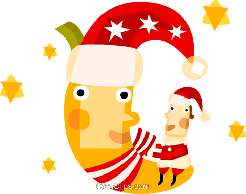 Santa sitting on the moon Royalty Free Vector Clip Art illustration vc094161