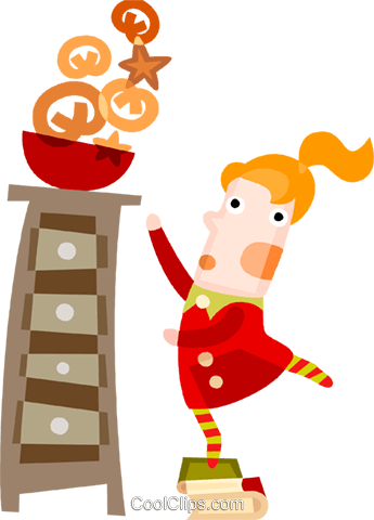 Girl reaching for Christmas cookies Royalty Free Vector Clip Art illustration vc094163