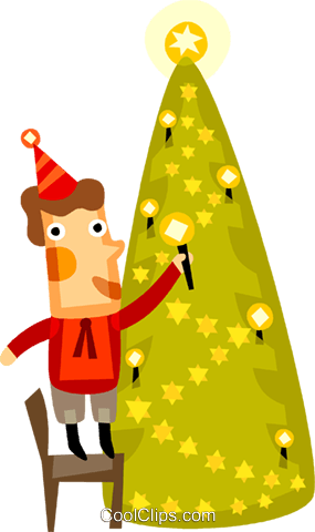 Man placing a candle on a tree Royalty Free Vector Clip Art illustration vc094166