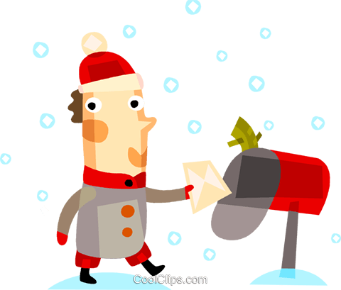 Man putting a letter in his mailbox Royalty Free Vector Clip Art illustration vc094168