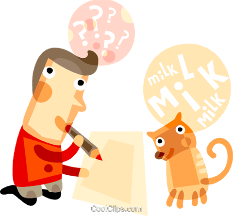 Man thinking about what to write Royalty Free Vector Clip Art illustration vc094169