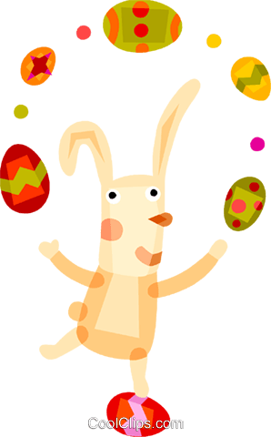 Easter bunny juggling Easter eggs Royalty Free Vector Clip Art illustration vc094171
