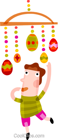 Boy playing with Easter eggs Royalty Free Vector Clip Art illustration vc094172