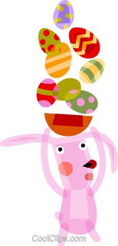 Easter bunny with Easter eggs Royalty Free Vector Clip Art illustration vc094182