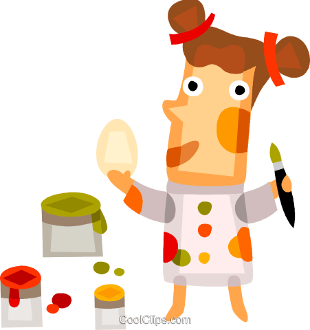Girl painting Easter eggs Royalty Free Vector Clip Art illustration vc094185