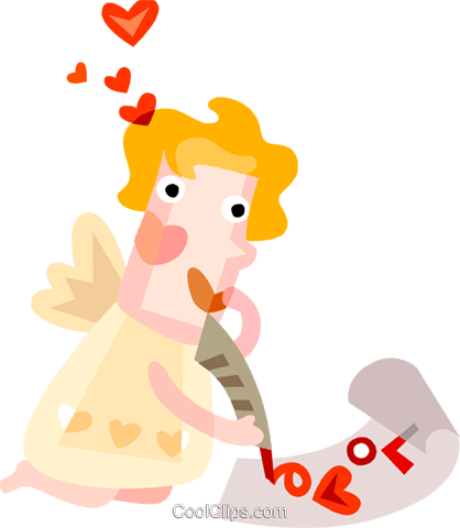 Cupid writing a love letter Royalty Free Vector Clip Art illustration vc094190