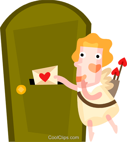 Cupid sending a love letter Royalty Free Vector Clip Art illustration vc094192