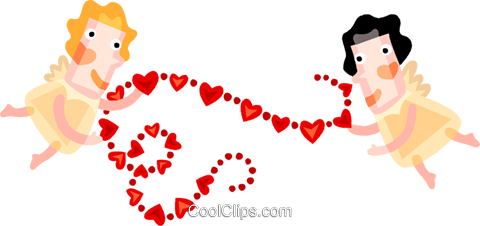 Cupid with hearts Royalty Free Vector Clip Art illustration vc094193