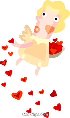 Cupid with hearts Royalty Free Vector Clip Art illustration vc094195