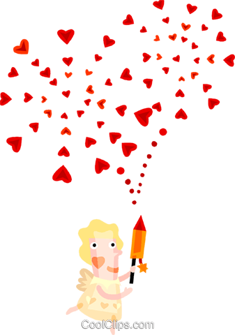 Cupid with hearts Royalty Free Vector Clip Art illustration vc094196