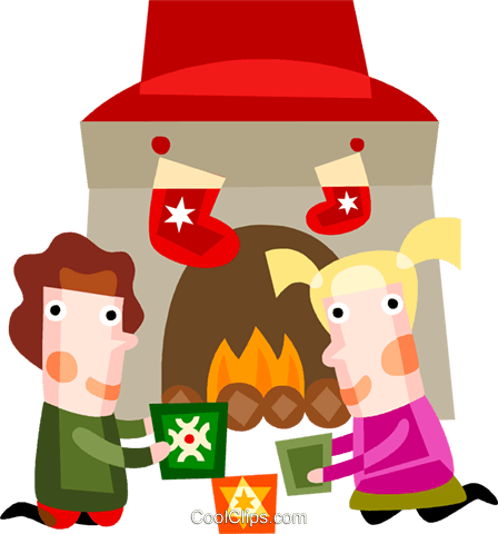 Children sitting around the fireplace Royalty Free Vector Clip Art illustration vc094197