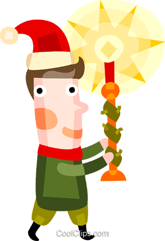 Boy carrying a Christmas candle Royalty Free Vector Clip Art illustration vc094199