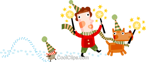 Boy and his pets singing Royalty Free Vector Clip Art illustration vc094200