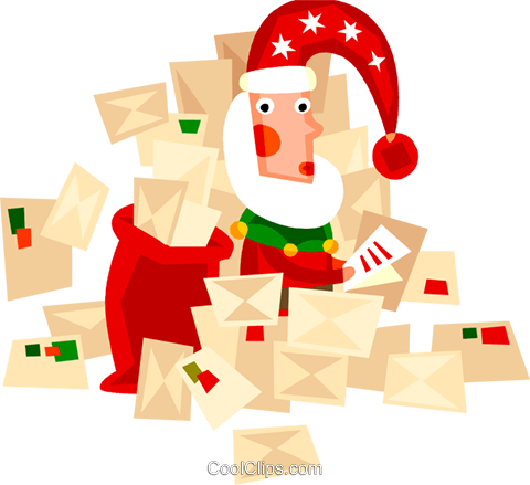 Santa opening his letters Royalty Free Vector Clip Art illustration vc094203