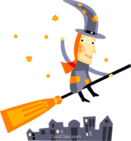 Witch flying on her broom Royalty Free Vector Clip Art illustration vc094204