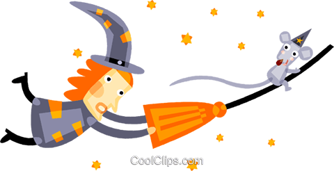 Witch and a mouse flying on a broom Royalty Free Vector Clip Art illustration vc094205