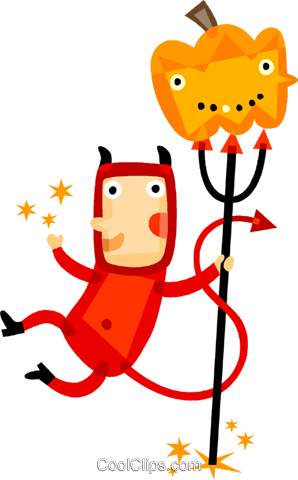 Boy in a devil costume and a pumpkin Royalty Free Vector Clip Art illustration vc094212