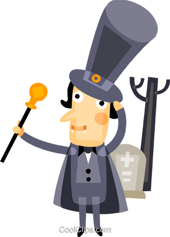 Dracula costume and a cemetery Royalty Free Vector Clip Art illustration vc094214