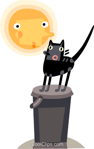 Scared black cat and the moon Royalty Free Vector Clip Art illustration vc094216