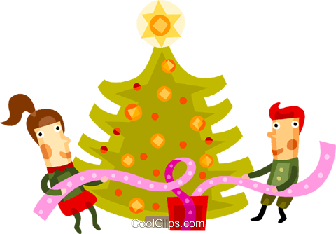 decorating a Christmas tree Royalty Free Vector Clip Art illustration vc094220