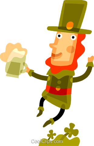 Man drinking beer on St. Patrick's day Royalty Free Vector Clip Art illustration vc094223