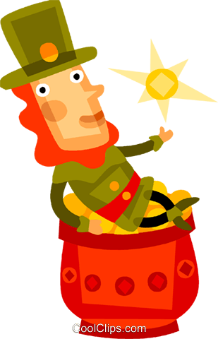 Irish man sitting on pot of gold Royalty Free Vector Clip Art illustration vc094224
