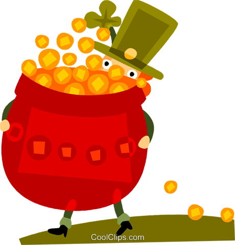 Irish man carrying  pot of gold Royalty Free Vector Clip Art illustration vc094226