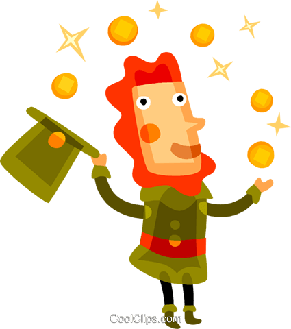 Irish man juggling gold coins Royalty Free Vector Clip Art illustration vc094227