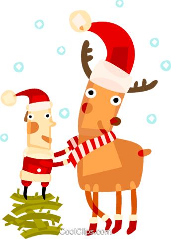 Santa with a reindeer Royalty Free Vector Clip Art illustration vc094228