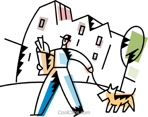 Man walking his dog Royalty Free Vector Clip Art illustration vc094229