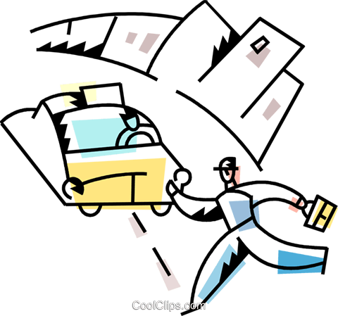 Man running for a cab Royalty Free Vector Clip Art illustration vc094230