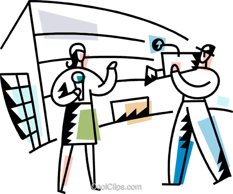 Female reporter with camera man Royalty Free Vector Clip Art illustration vc094231