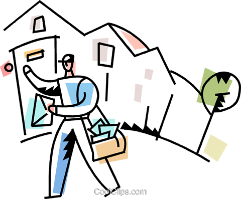 Letter carrier delivering the mail Royalty Free Vector Clip Art illustration vc094235