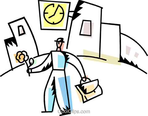 Man with briefcase and flower Royalty Free Vector Clip Art illustration vc094236
